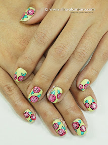 Paper Roses Nail Art by Simply Rins