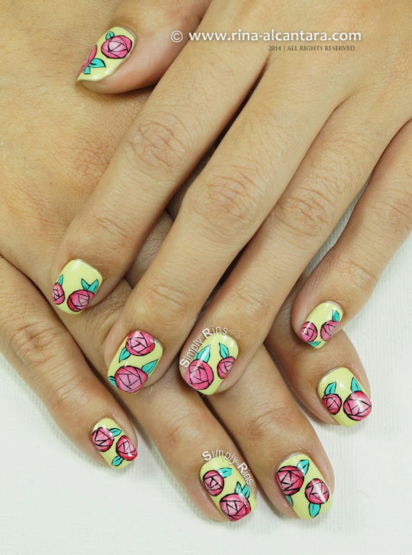 Paper Roses Nail Art Design by Simply Rins