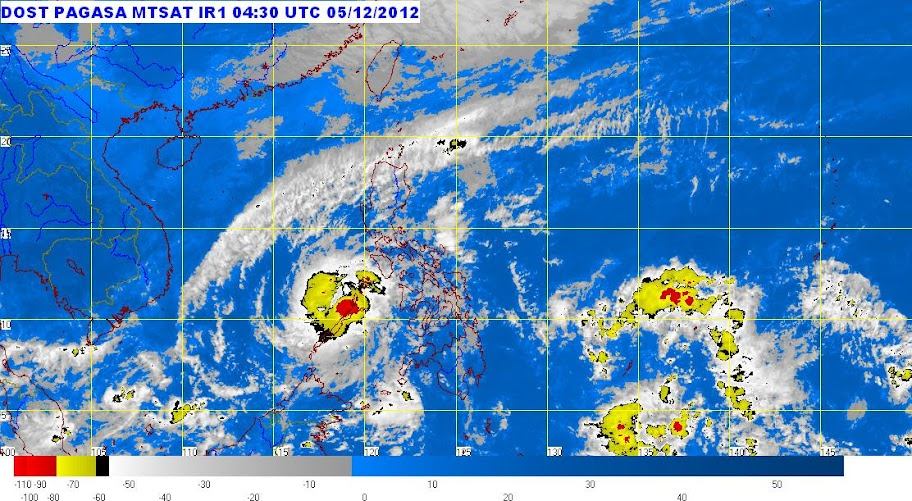 Satellite image of Typhoon Pablo as of 12:30 p.m. Wednesday, December 5, 2012