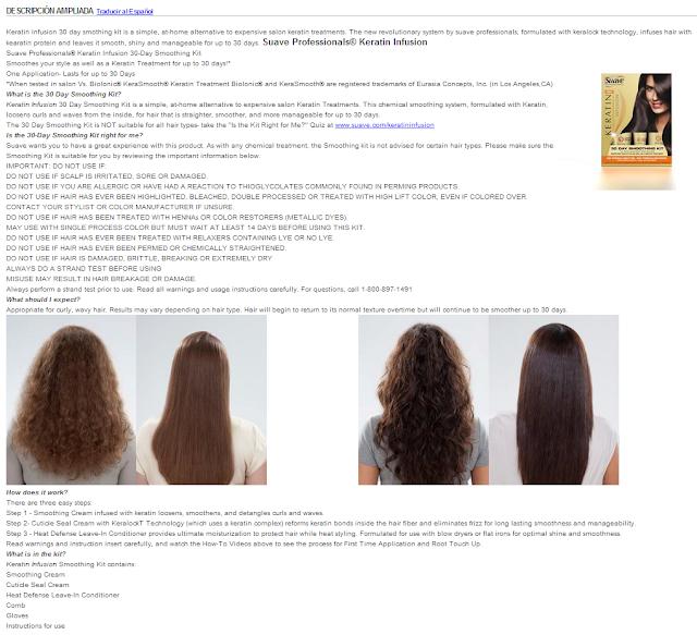あるサイトではKeratin Infusion 30 Day Smoothing Kitを使用すると癖毛が伸びるという説明