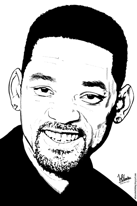 Ink drawing of Will Smith, using Krita 2.4.