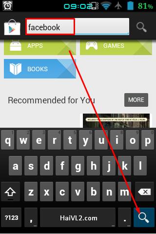 bắt đầu tìm ứng dụng facebook cho android