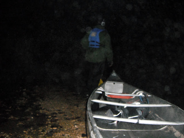 Canoeing at night at the Berryman Adventure Race