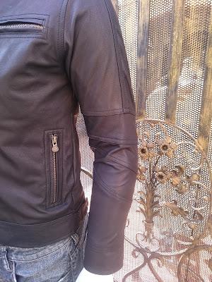 áo da cừu túi ngang tay kéo khóa