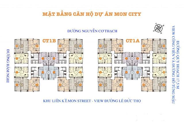Mặt bằng tầng căn hộ điển hình tại Mon City tòa CT1A và CT1B