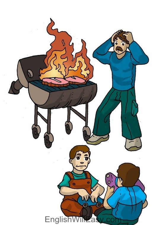 Picture Card For Kids- Verbs- barbeque
