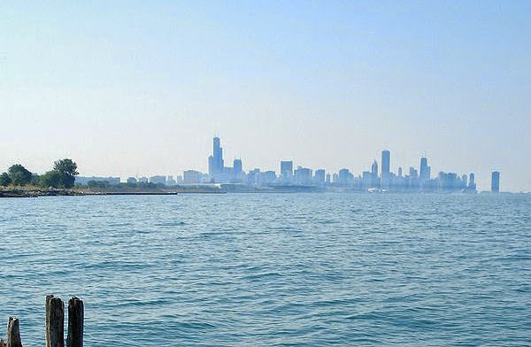 Chicago Skyline seen from Harold Washington Park, IL