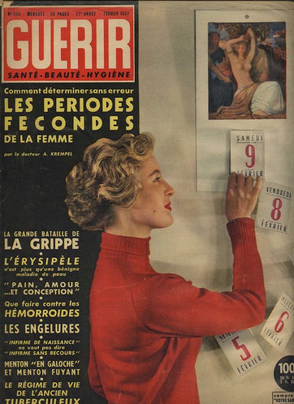 Couverture de magazine vintage : Comment déterminer sans erreur les périodes fécondes de la femme - Pour vous Madame, pour vous Monsieur, des publicités, illustrations et rédactionnels choisis avec amour dans des publications des années 50, 60 et 70. Popcards Factory vous offre des divertissements de qualité. Vous pouvez également nous retrouver sur www.popcards.fr et www.filmfix.fr   - For you Madame, for you Sir, advertising, illustrations and editorials lovingly selected in publications from the fourties, the sixties and the seventies. Popcards Factory offers quality entertainment. You may also find us on www.popcards.fr and www.filmfix.fr