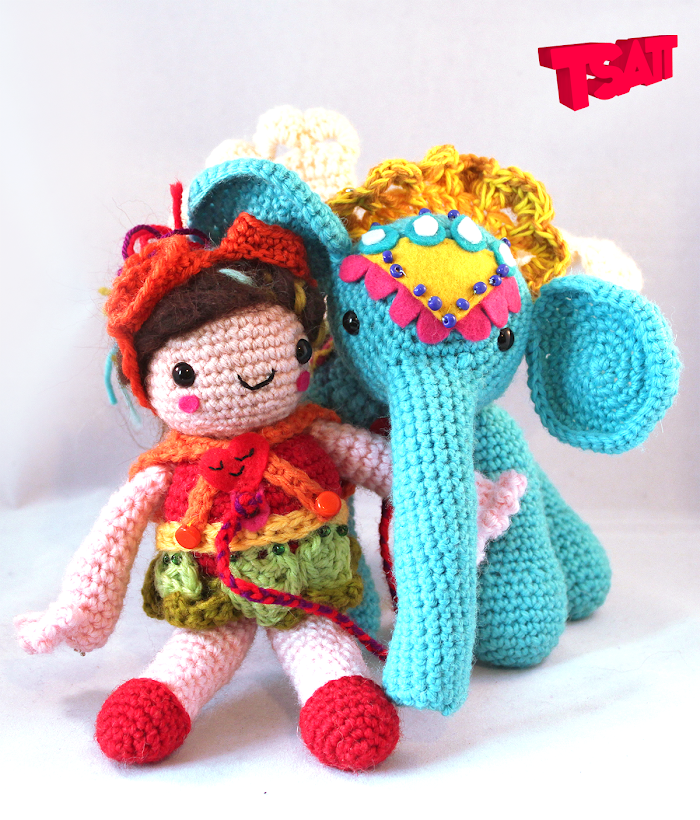Easy to follow Amigurumi pattern for an Elephant with wings and his girl friend.
