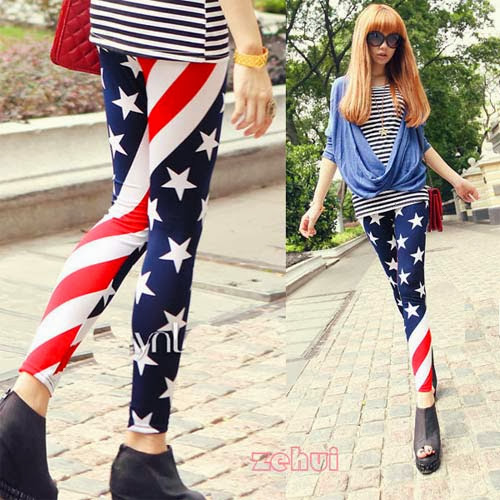 Inspiração: legging estampada - bandeira dos Estados Unidos