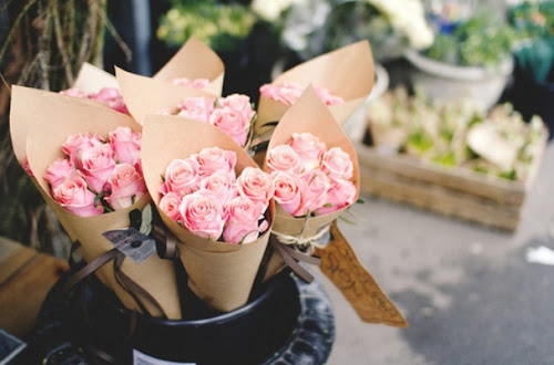 Farmers Market Pale Pink Roses Home Decor