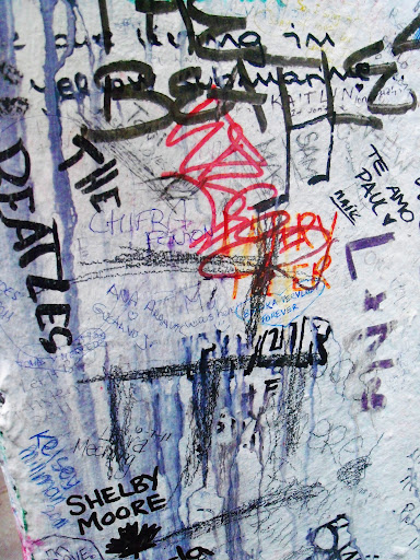 Closeup of the Abbey Road wall