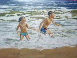Niños jugando en la orilla del mar, oleo sobre tabla