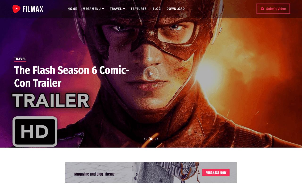 Filmax Movie Blogger Template Free Download