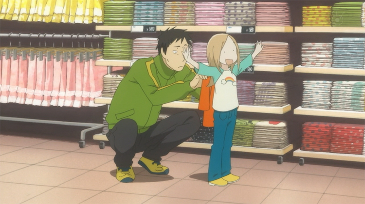 Usagi Drop Rin shopping flapping arms