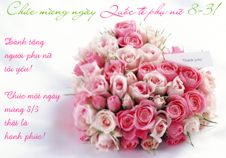 Ảnh bó hoa hồng chúc mừng ngày Quốc tế phụ nữ 8-3