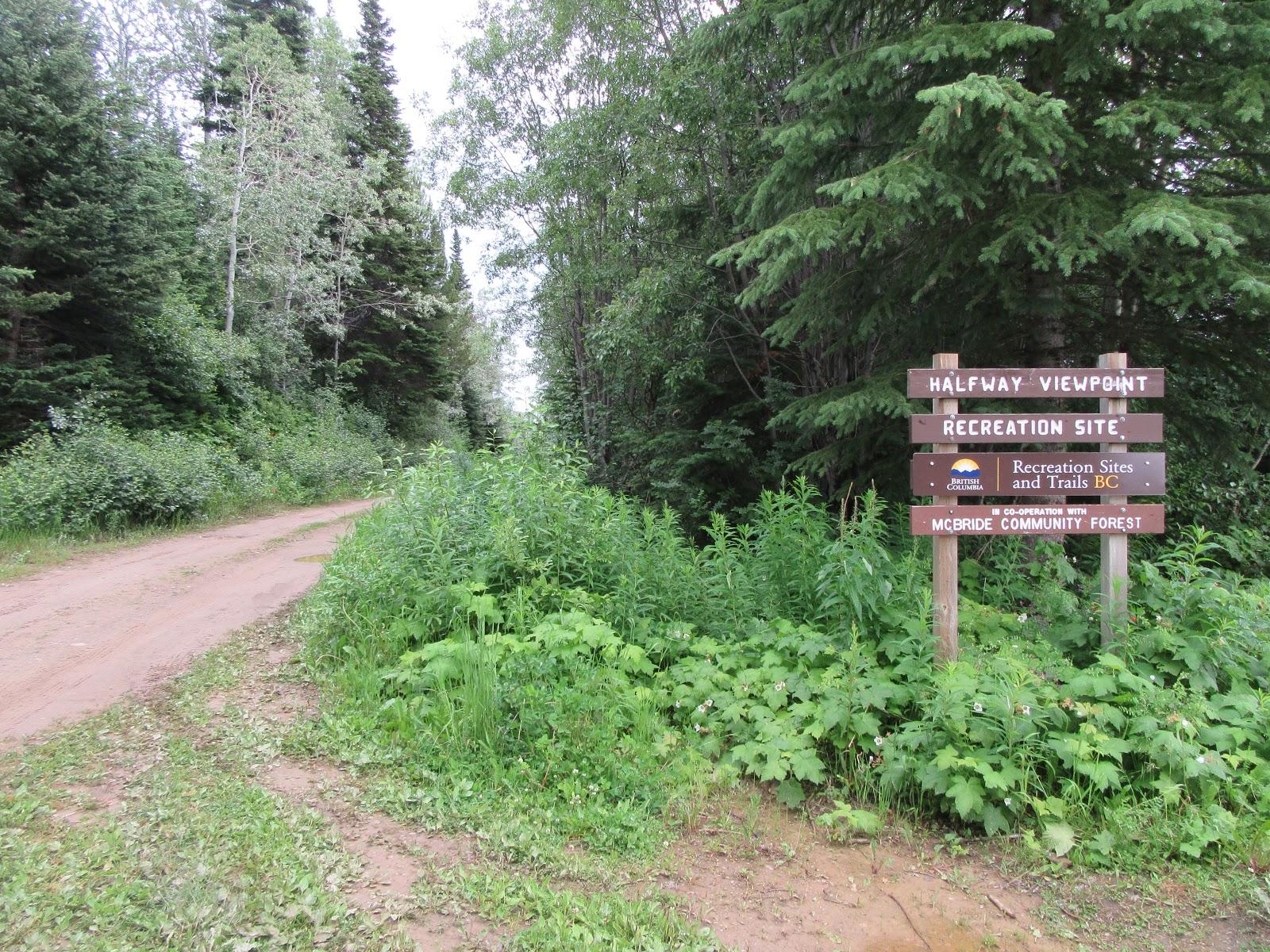 Bicycle ride McBride Peak - road and road sign