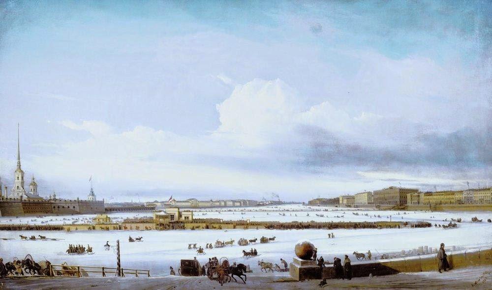 Alexey Bogolybov - Riding on Neva river 1854