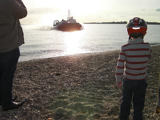 ryde to portsmouth hovercraft landing on a shingle beach