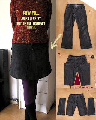 skirt out of old jeans/reconstruction part 1