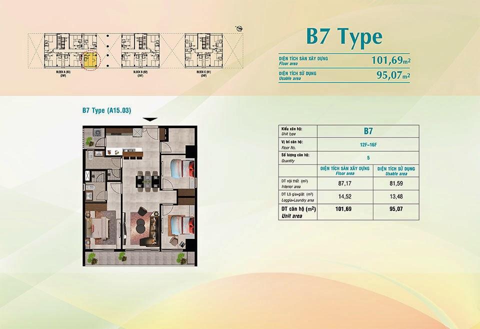 Căn hộ Scenic Valley Phú Mỹ Hưng, kiểu B7, 101.69m2 có thiết kế 3 phòng ngủ