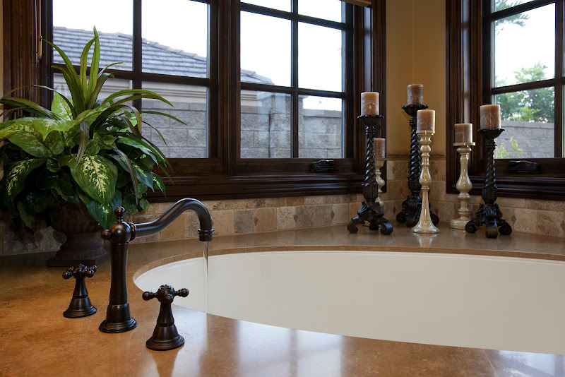 Sink tile accents often match the shower accents. You can always mix  title=