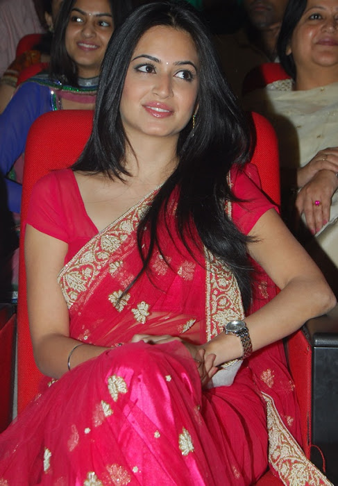 kriti kharbandha in red saree
