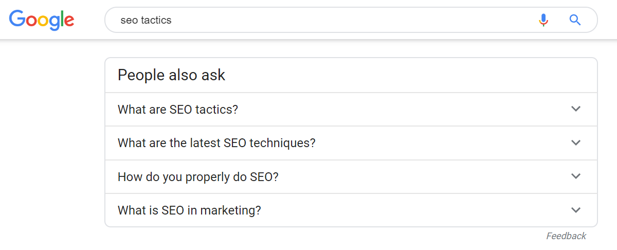screen shot of the people also ask section of the Google search engine results page, a part of keyword research, one of the SEO tactics for new websites