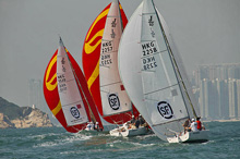 J/80s sailing World Police Sailing Championship in Hong Kong