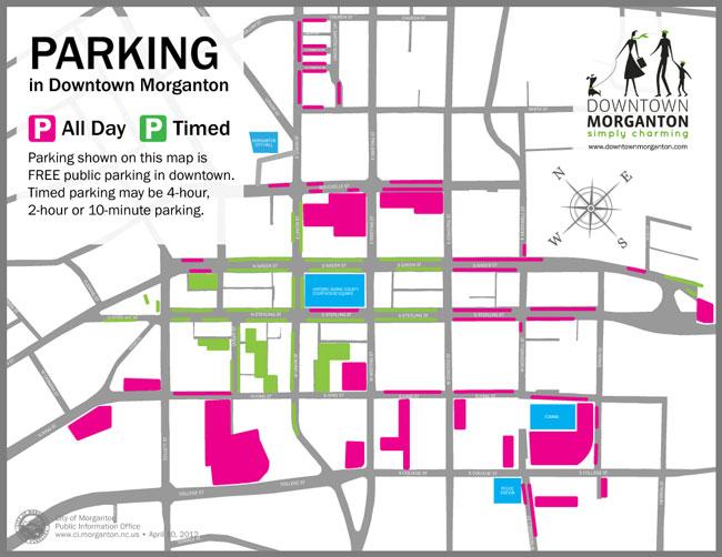 Downtown Morganton parking map