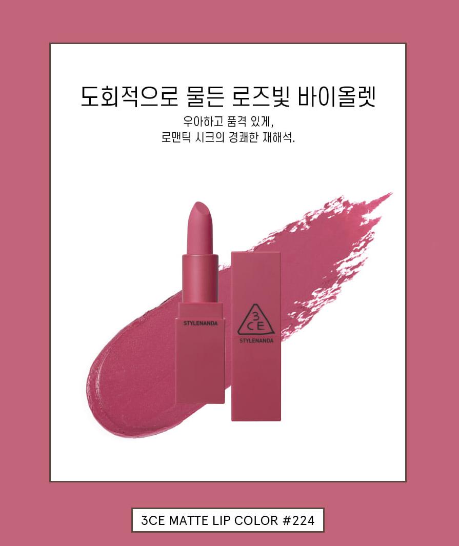 3CE Matte Lip Color Supreme Violet Matte Shades