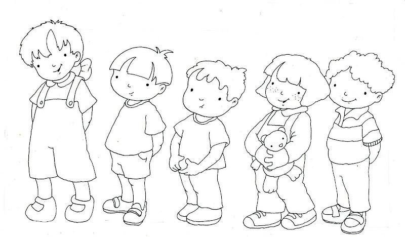 Dibujos para colorear de niños haciendo filas - Imagui