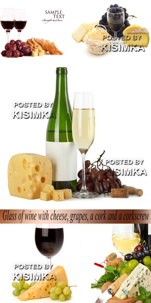 Glass of wine with cheese, grapes, a cork and a corkscrew