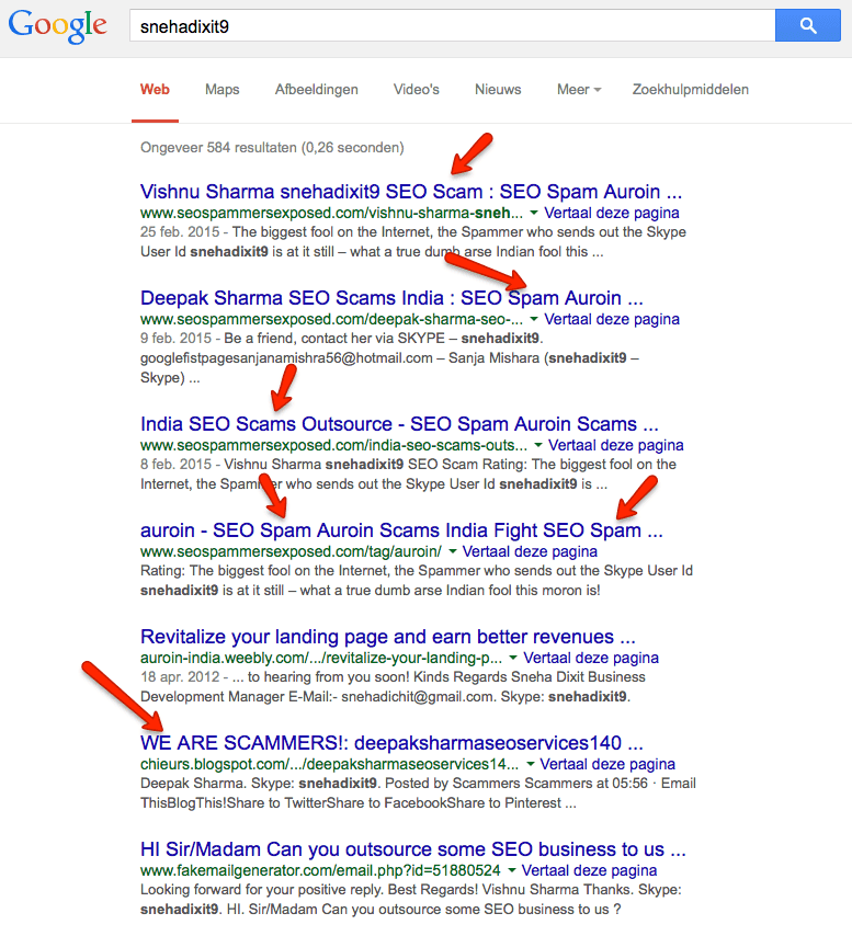snehadixit9 Scam en Spam in Google SERPs