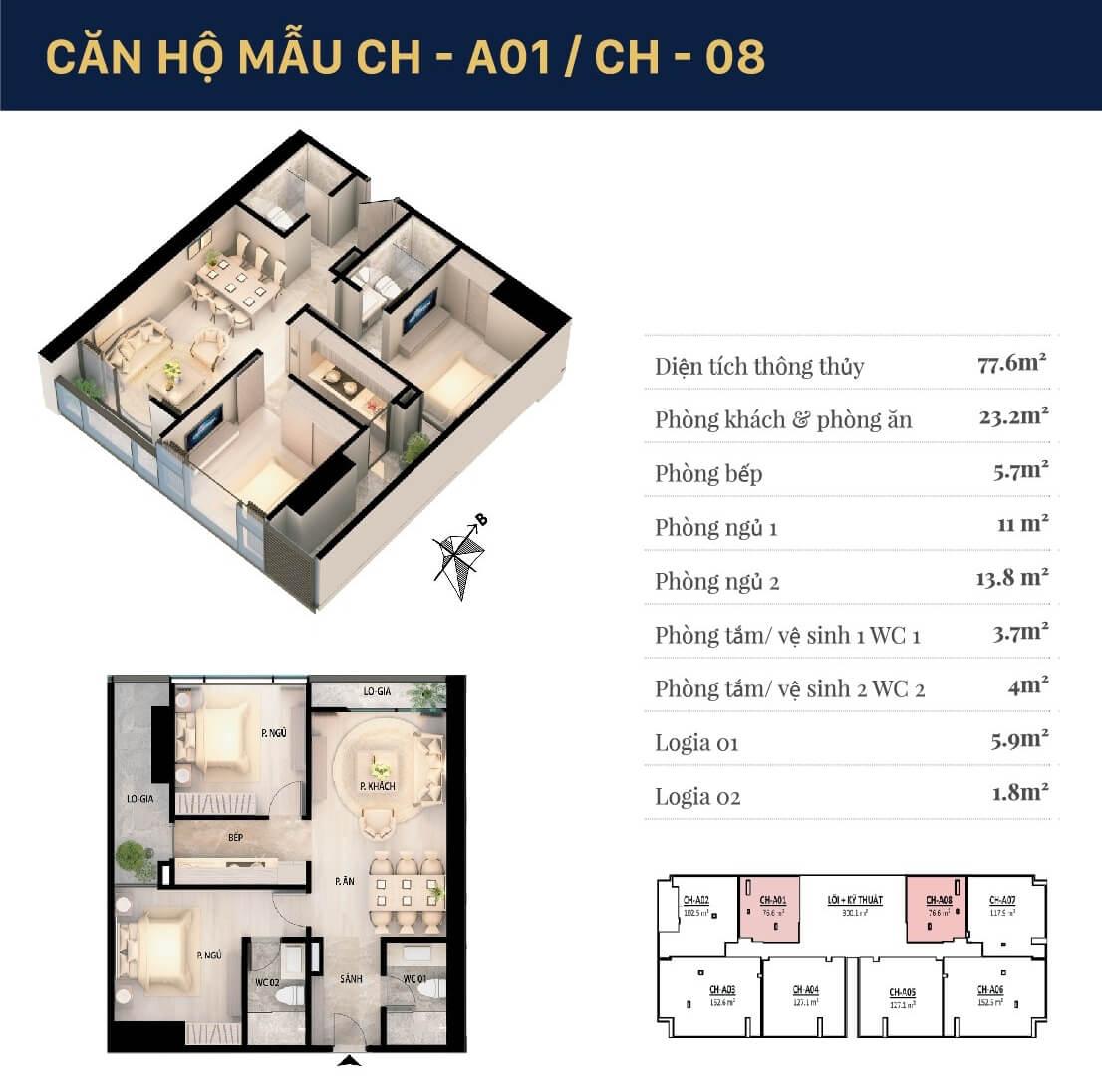 Chi tiết căn hộ 01 - 08 dự án Grandeur Palace