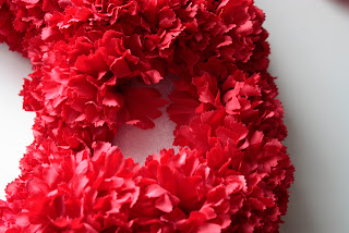 Faux Carnation Wreath in Progress