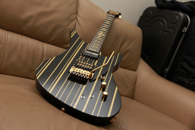 Schecter Synyster Gates Custom S Black Gold Stripes