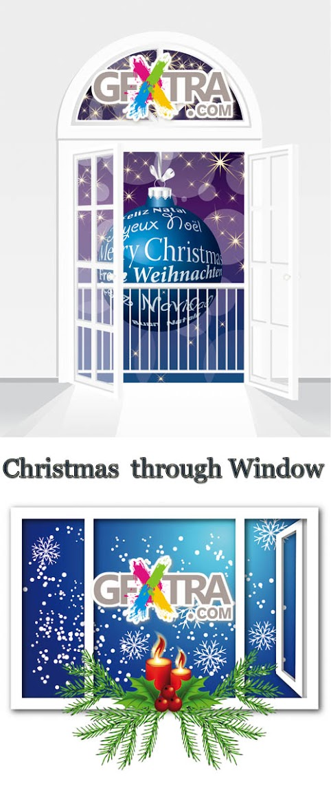 Stock: Christmas Night through Window