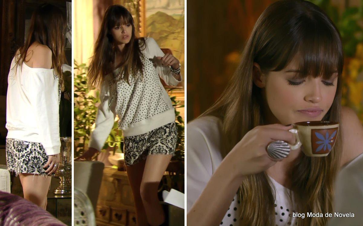 moda da novela Em Família - look da Gisele dia 18 de abril