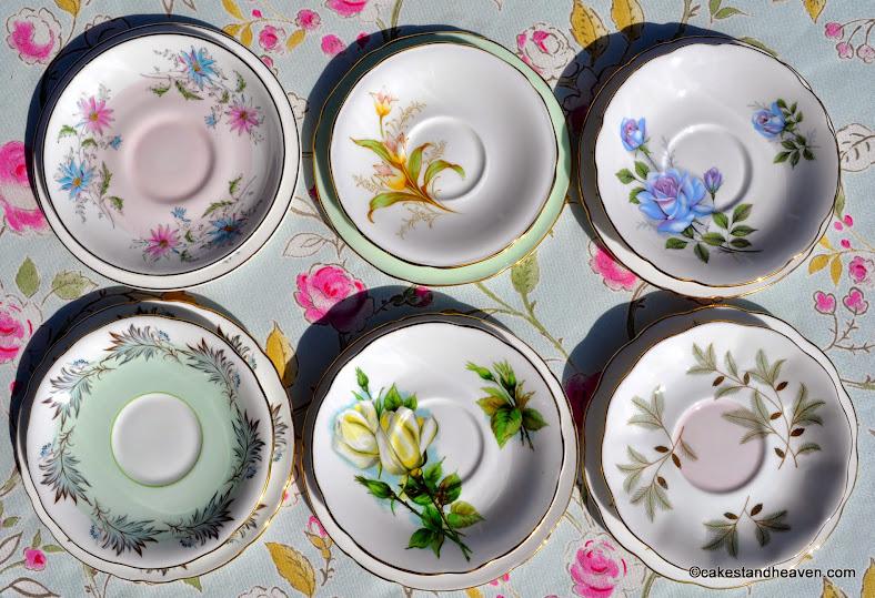 six pastel eclectic vintage saucers