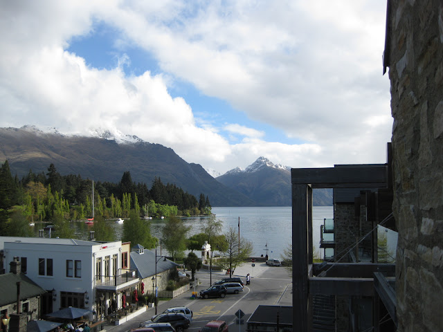 View from the balcony of Nomads Hostel Queenstown onto Lake Wakatipu and the Remarkables