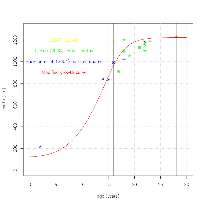 Sample of Tyrannosaurus rex length estimates based on femur lengths in Larson (2008) added to data and growth model from Erickson et al. 2004