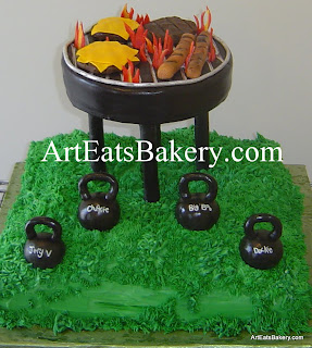 Unique cookout fondant hot dogs and hamburger grill cake on butter cream grass with black fondant kettle bell weights