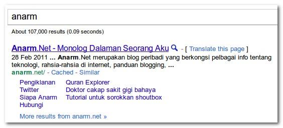 cara dapatkan google sitelinks untuk blog