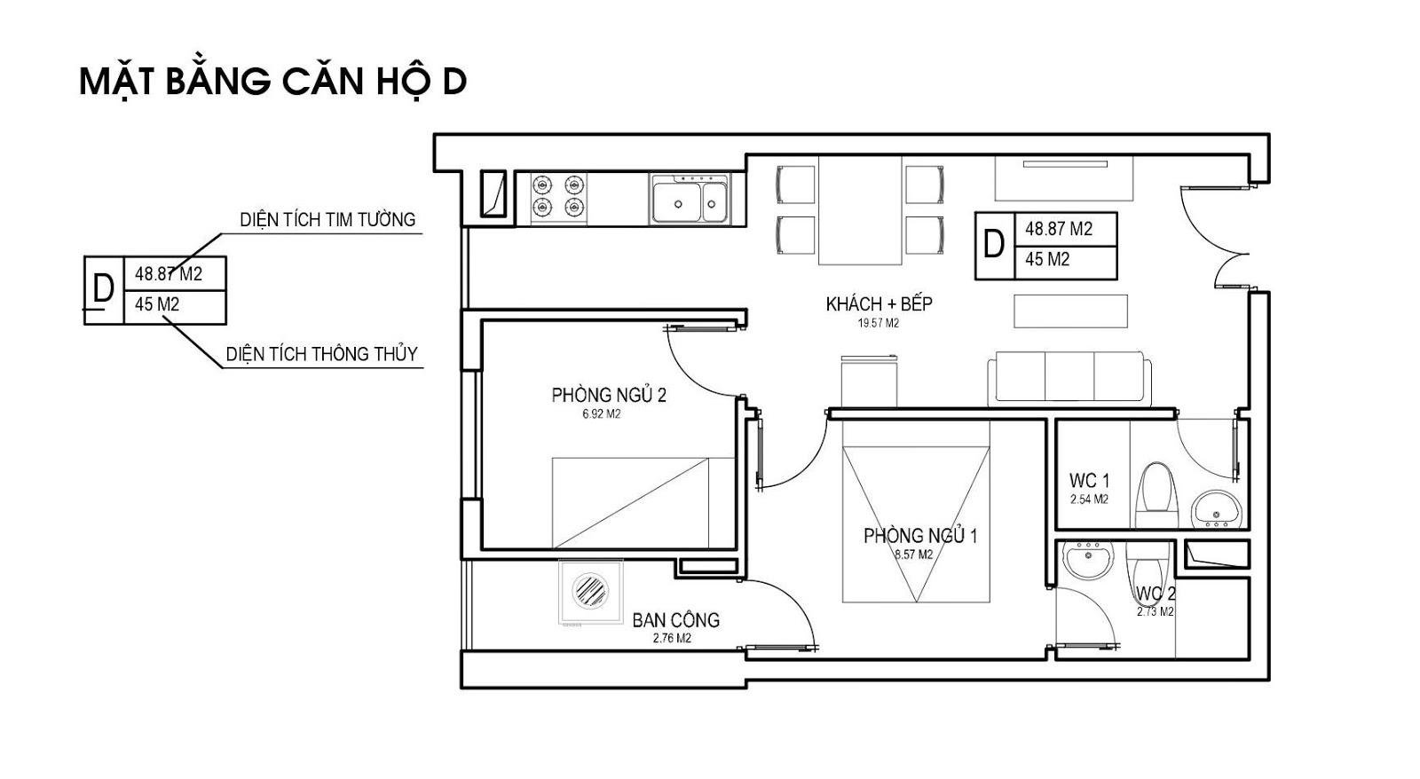 Mặt bằng căn hộ D 45m 2 PN chung cư FLC Green Apartment Phạm Hùng
