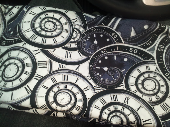 Black and white spiral clock motif