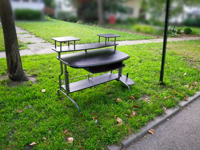 Discarded computer desk