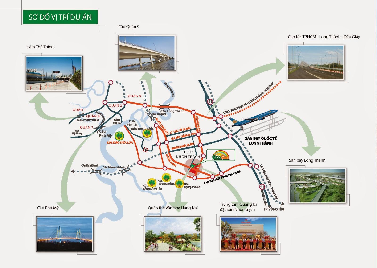 Sơ đồ vị trí và tiện ích dự án Ecosun Nhơn Trạch Đồng Nai