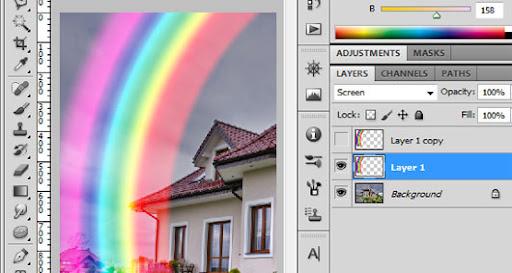 Mude a mesclagem da camada com o arco-íris para o modo Screen (Divisão)
