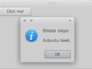 Hello World Shoes application running on Xubuntu